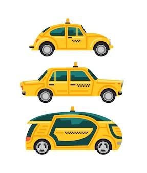 Platte cartoon-stijl taxi-auto's van verschillende typen