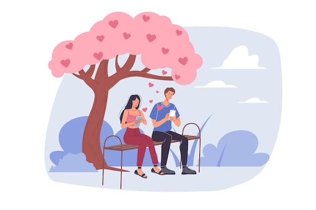 Platte cartoon stijl van liefhebbers die samen genieten van quality time