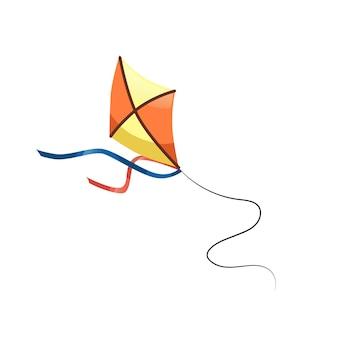 Platte cartoon vlieger op touwtje, gezond gezin en gelukkige kindertijd vector illustratie concept