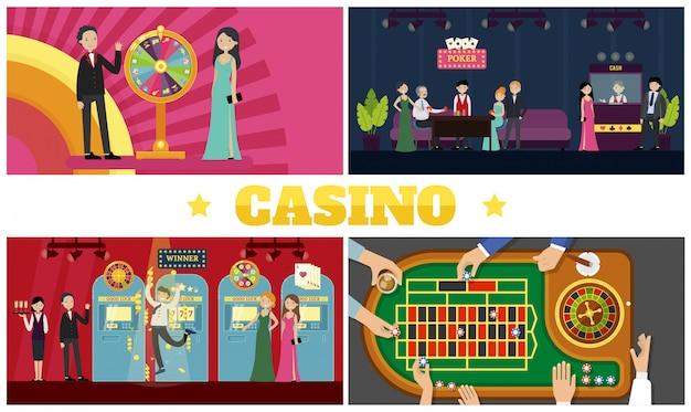 Platte casino kleurrijke samenstelling met fortuinwiel klanten gelukkige winnaar croupiers serveerster gokautomaten spelers rond pokertafel