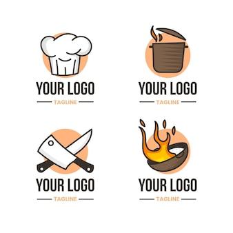 Platte chef-kok logo collectie