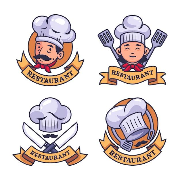 Platte chef-kok logo-collectie