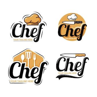 Platte chef-kok logo sjabloon collectie