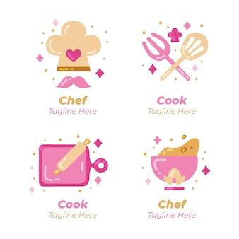 Platte chef-kok logo sjabloon