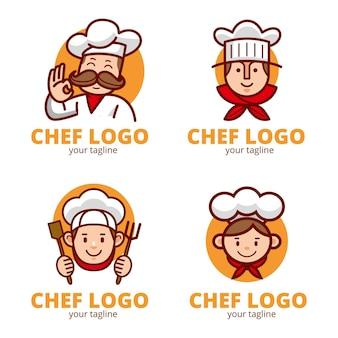 Platte chef-kok logo sjablooncollectie