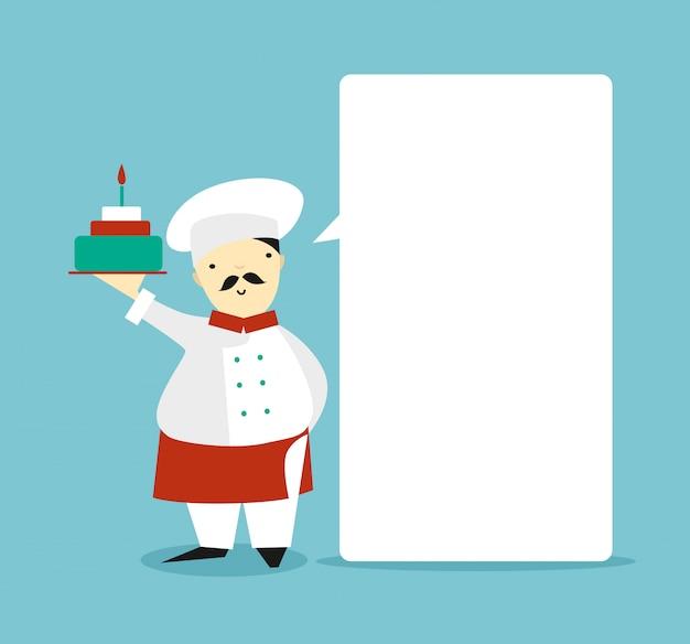Platte chef-kok met een taart praten