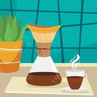 Platte chemex met een kopje koffie in het interieur. alternatieve manieren om koffie te zetten. koffiecultuur.
