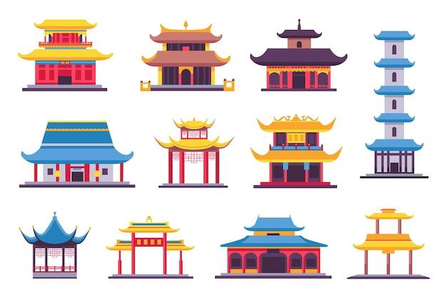 Platte chinese en japanse gebouwen, oude tempel, pagode en heiligdom. aziatische oude architectuur in traditionele stijl. china huizen vector set