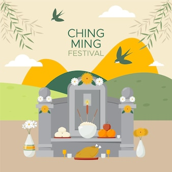 Platte ching ming festival viering illustratie