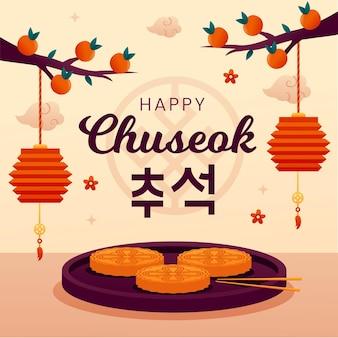 Platte chuseok illustratie concept