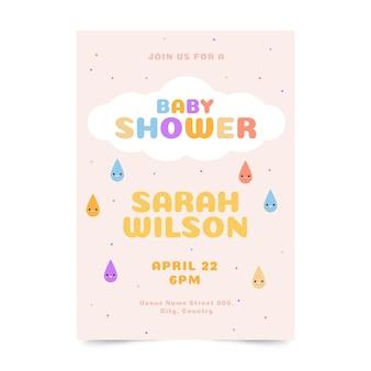 Platte chuva de amor baby shower uitnodiging sjabloon