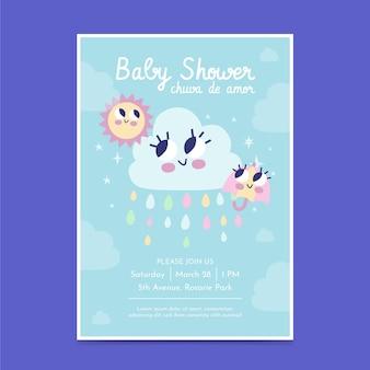 Platte chuva de amor baby showeruitnodiging