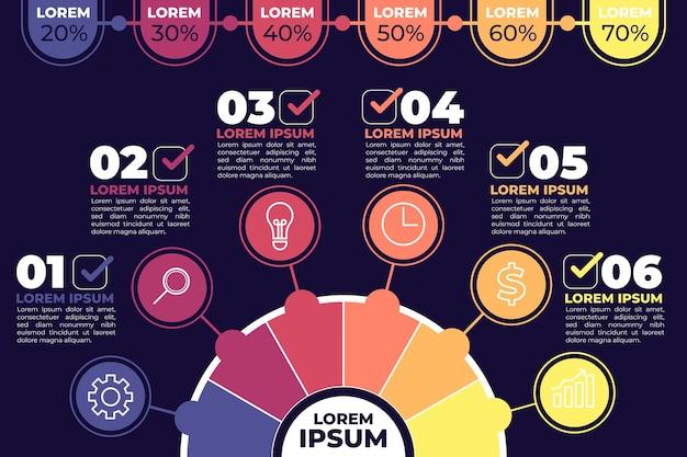 Platte circulaire diagram infographic sjabloon