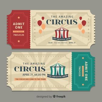 Platte circus ticket sjabloon Premium Vector