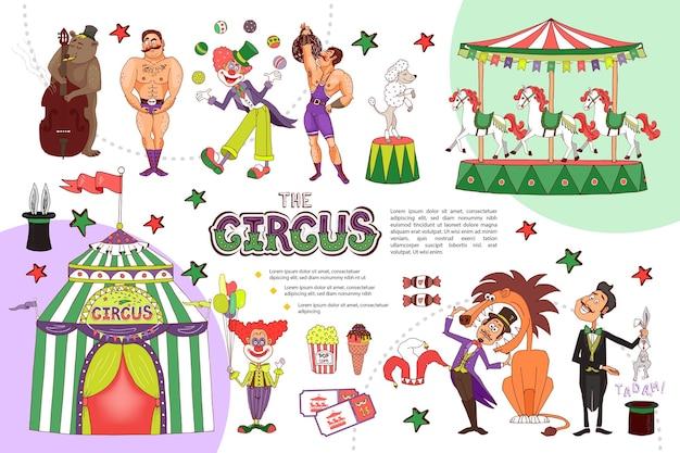 Platte circussamenstelling met jonglerende clown sterke mannen carrousel dierentrucs goochelaar tent tickets ijs