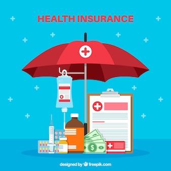 Platte cmpositie met gezondheidsaanvullingen