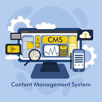 Platte cms-illustratie