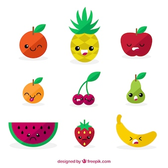 Platte collectie expressieve fruitkarakters