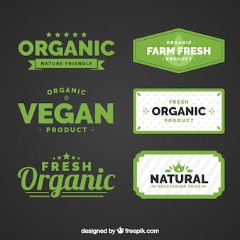 Platte collectie organische voedseletiketten