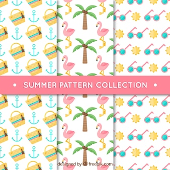 Platte collectie van drie decoratieve zomerpatronen
