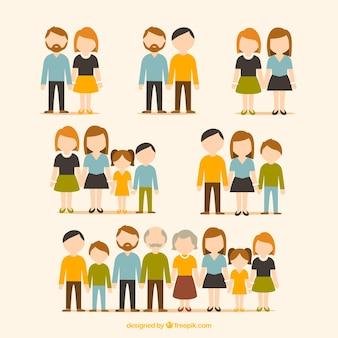 Platte collectie van gezinnen