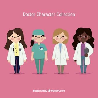 Platte collectie vrouwelijke artsen