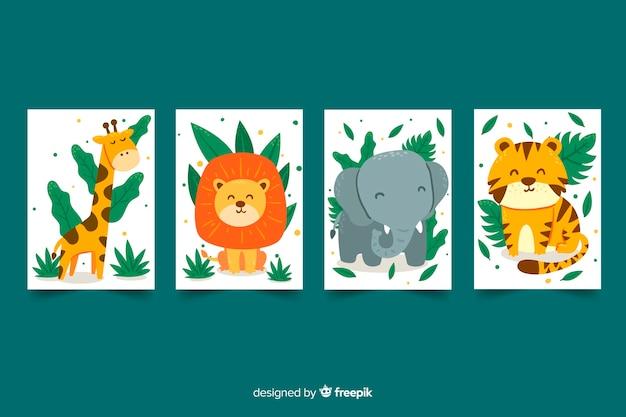 Platte collectie wild dierkaarten