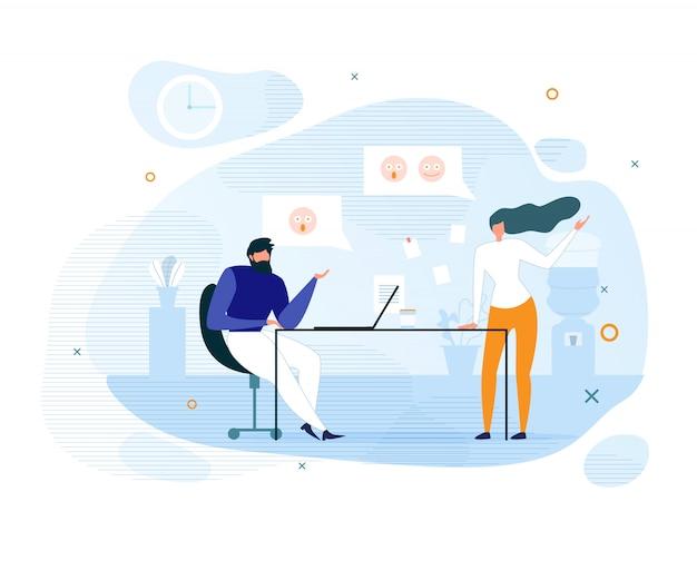 Platte collega's en informele communicatie op kantoor