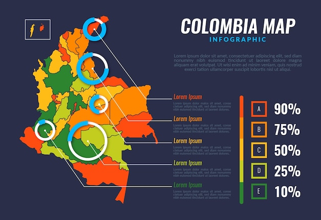 Platte colombia kaart infographic