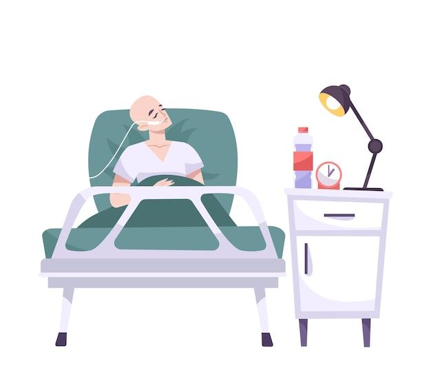 Platte compositie met menselijk karakter van kale patiënt liggend in bed illustratie