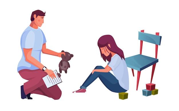 Platte compositie met psycholoog die speelgoed vasthoudt en zijn trieste cliënt