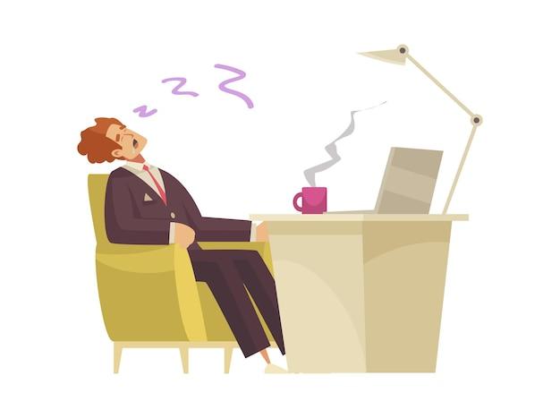 Platte compositie met vermoeide man die op zijn werkplek slaapt