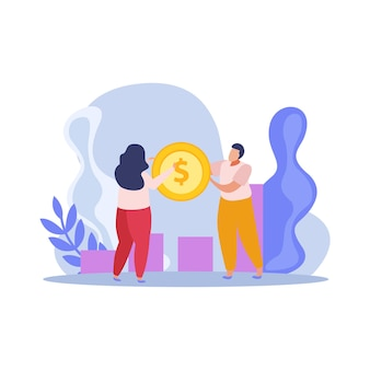 Platte compositie met zakenmensen die munt en diagram houden