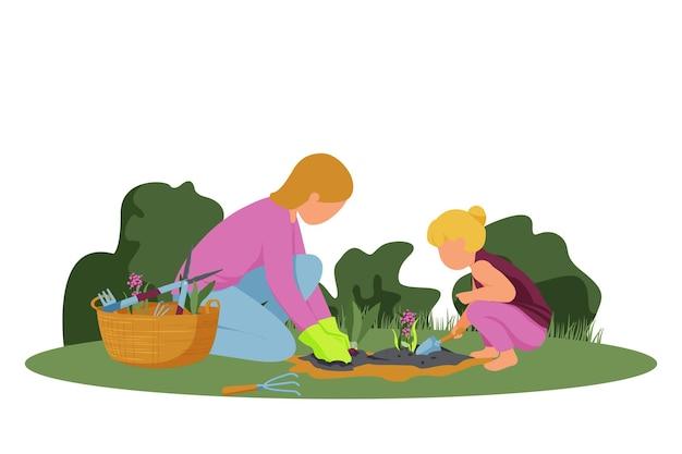 Platte compositie tuinieren met vrouw en meisje die lentebloemen planten