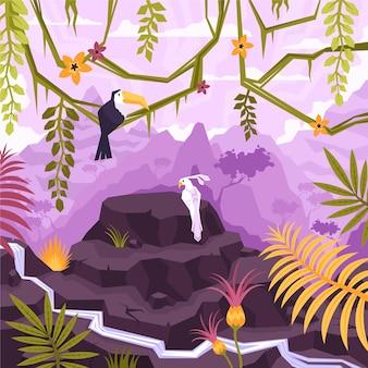 Platte compositie van het landschap met uitzicht op de buitenlucht van bosbergen met vogels die op lianen zitten en bloemenillustratie