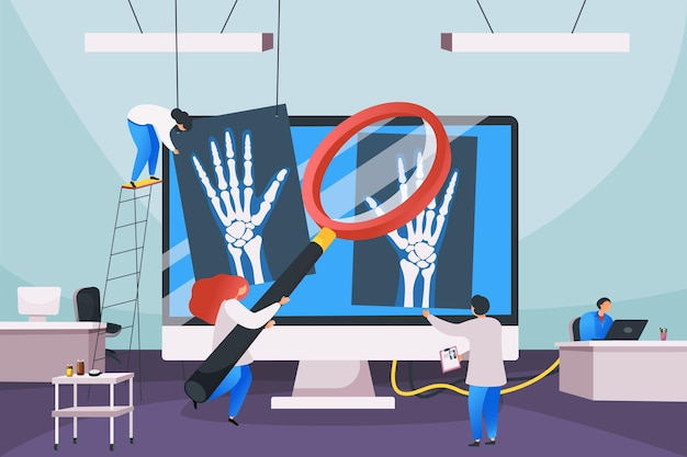 Platte compositie van medisch centrum met desktopcomputer tussen werkplekken van artsen en schaduwfoto's van menselijke botten