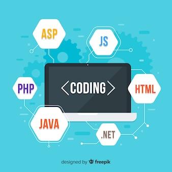 Platte computer engineering concept met het codes