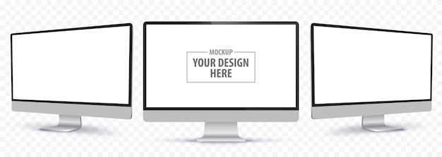 Platte computermonitor vector mockup met wit leeg scherm realistische desktop-pc-weergave