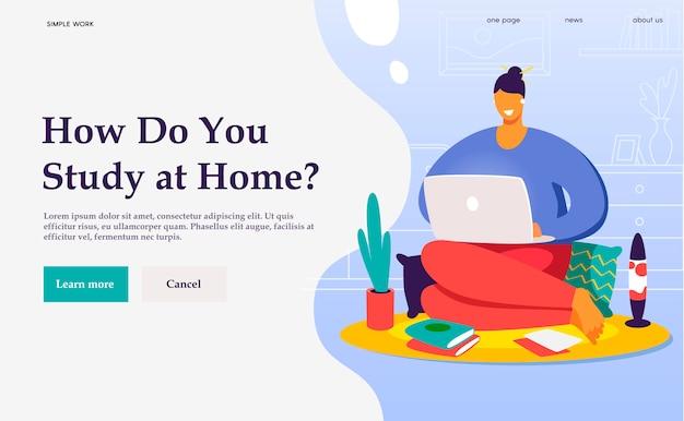 Platte concept banner. een freelancer die thuis werkt. student online studeren.