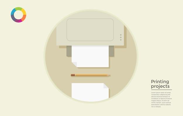 Platte concept van print media service - vectorillustratie