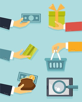 Platte concept van zaken met handen voor betalingen en verkoop vectorillustratie