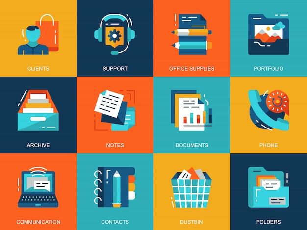 Platte conceptuele bedrijfs essentiële pictogrammen concepten instellen