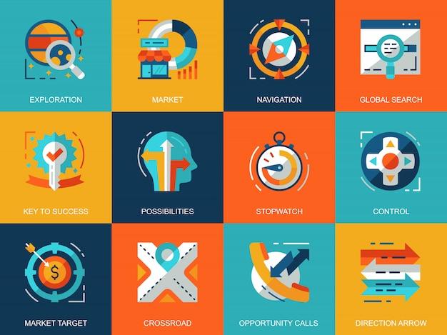Platte conceptuele bedrijfselementen iconen concepten instellen