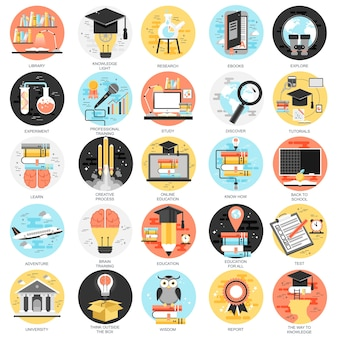 Platte conceptuele pictogrammen instellen online onderwijs, video tutorials, opleiding van het personeel, leren.
