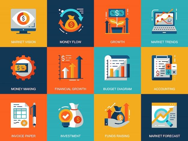 Platte conceptuele wereldwijde markteconomie pictogrammen concepten instellen