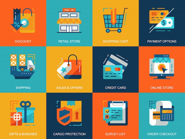 Platte conceptuele winkelen en e-commerce pictogrammen concepten instellen