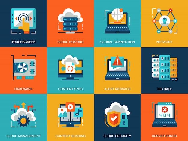 Platte conceptuele wolk technologie iconen concepten instellen