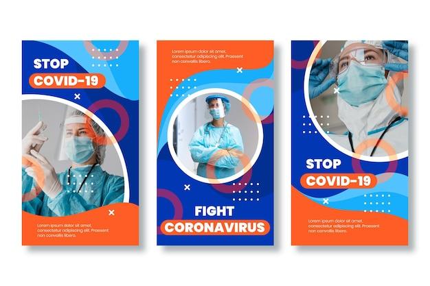 Platte coronavirus instagram-verhaalcollectie