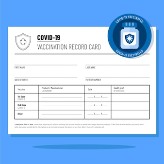 Platte covid19-vaccinatierecordkaart