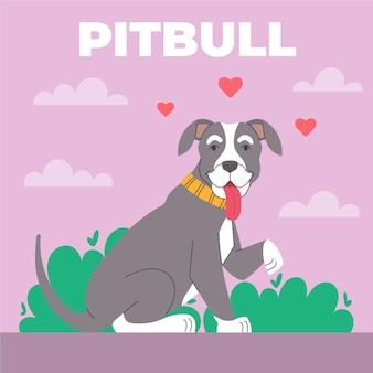 Platte creatieve pitbull illustratie